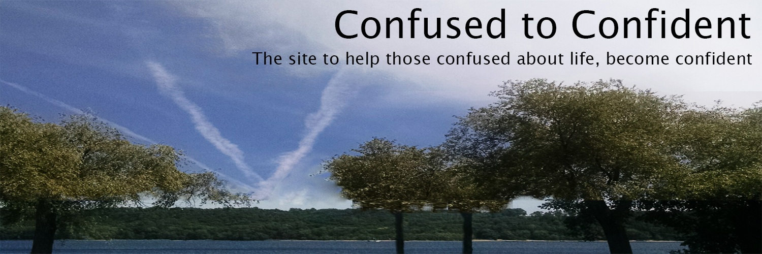 Confused to Confident Heading Photo of River, Trees, and Converging Airplane Trails in the Sky